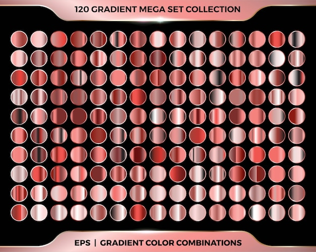 Trendy colorful shiny gradient palettes of metal rose gold, copper, bronze color combination mega set collection Premium Vector