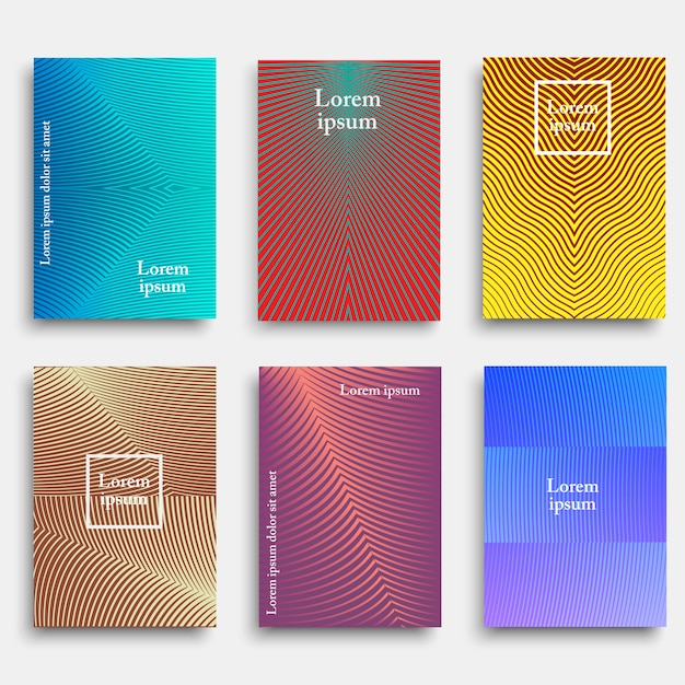 Trendy cover design with geometric line shapes Premium Vector