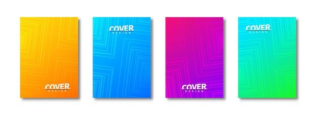 トレンディなカバーテンプレートセット。幾何学的な正方形のパターン。抽象的なポスター、チラシ、バナー、背景。印刷で使用するための創造的な表紙のテンプレートデザイン。 Premiumベクター