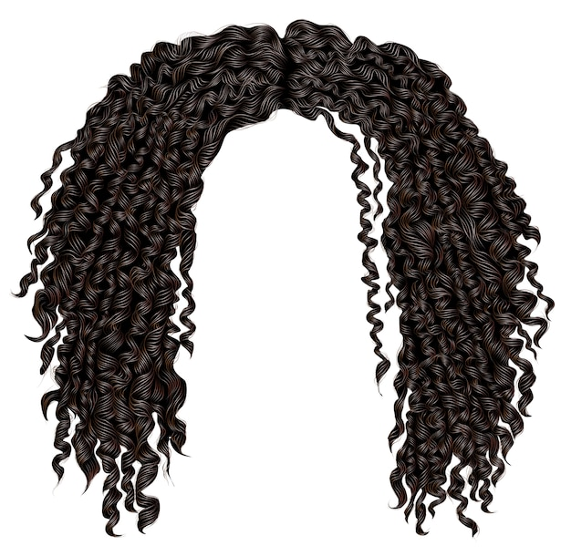 Premium Vector Trendy Curly Disheveled African Black Hair Realistic 3d Fashion Beauty Style Unisex Women Men Afro