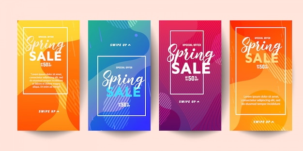 Trendy editable template spring sale banners for social networks stories Premium Vector