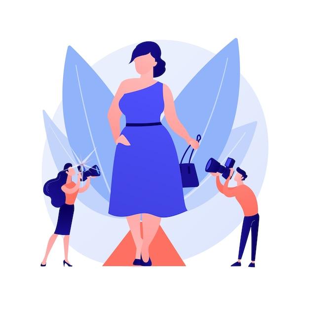 Sfilata di moda alla moda. modelle in sovrappeso, donne grassocce, ragazze positive per il corpo. le fashioniste taglie forti che indossano abiti alla moda e accessori eleganti. illustrazione della metafora del concetto isolato di vettore Vettore gratuito