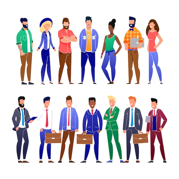 Trendy flat business people and freelancers set Premium Vector