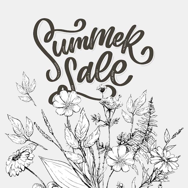 유행 꽃 템플릿입니다. 여름 꽃과 여름 판매 글자 그림입니다. 줄무늬 배경에 초라한 골드 텍스처입니다. 녹색 휴가 배경으로 수채화 크림과 핑크 장미 꽃. 프리미엄 벡터