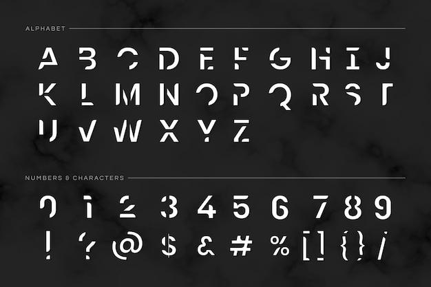 Trendy futuristic typography set Free Vector