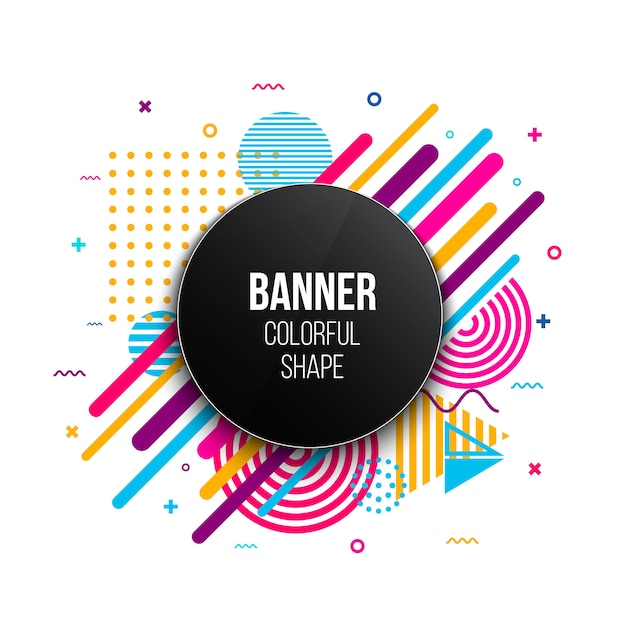 Trendy geometric flat banner frame template. Premium Vector