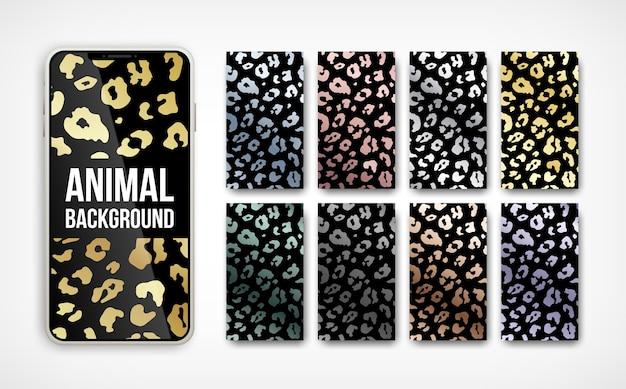 Trendy  golden metallic leopard pattern abstract vertical background set on smartphone screen Premium Vector
