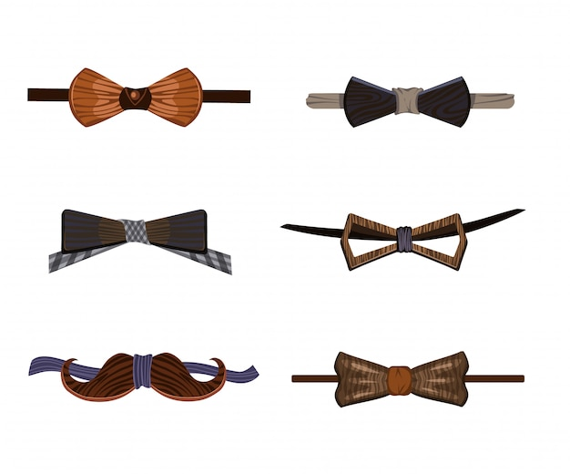 Trendy hipster wooden bow ties collection Free Vector