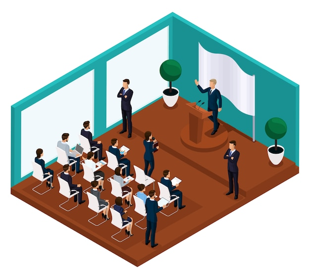 Trendy isometric businessmen Premium Vector