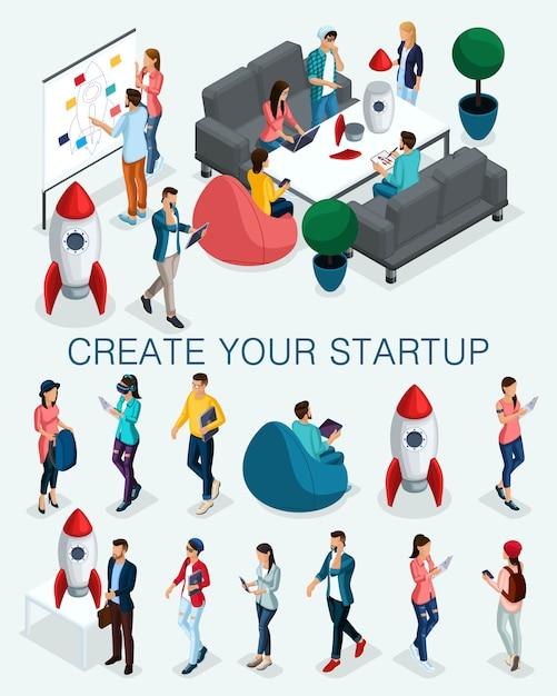 トレンディな等尺性の人々、ビジネスマン、若者のコンセプト、専門家の若いチーム、スタートアップの作成、分離された戦略開発のブレーンストーミング Premiumベクター
