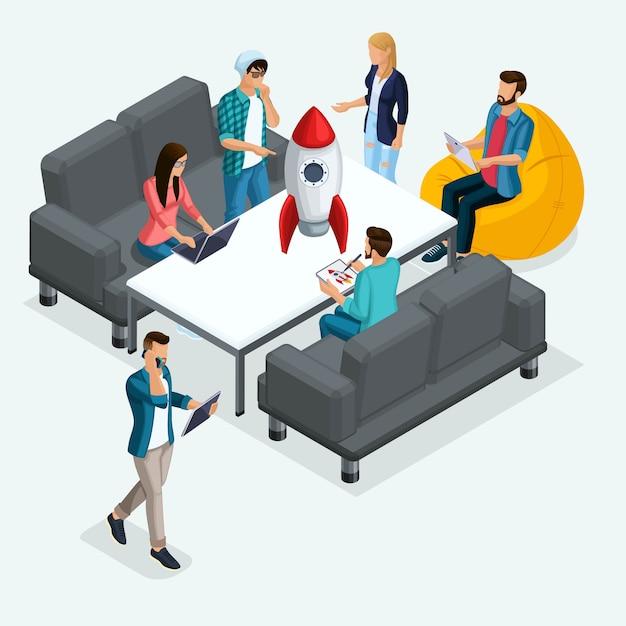 トレンディな等尺性の人々、ビジネスマン、スタートアップの開発、創造的な若者、フリーランサー、専門家のチーム、ビジネスの創造、光のブレーンストーミング Premiumベクター