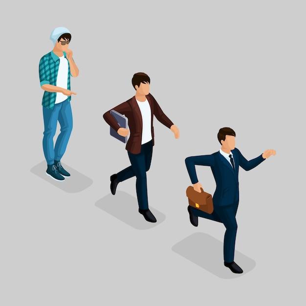 トレンディな等尺性の人々、ビジネスマン、開発のスタートアップ、創造的なフリーランサー、専門家のチーム、ビジネスの創造、キャリアの成長、灰色のビジネスコンセプト Premiumベクター