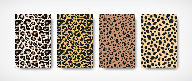 Trendy leopard skin pattern backgrounds set. hand drawn wild animal spots abstract texture Premium Vector