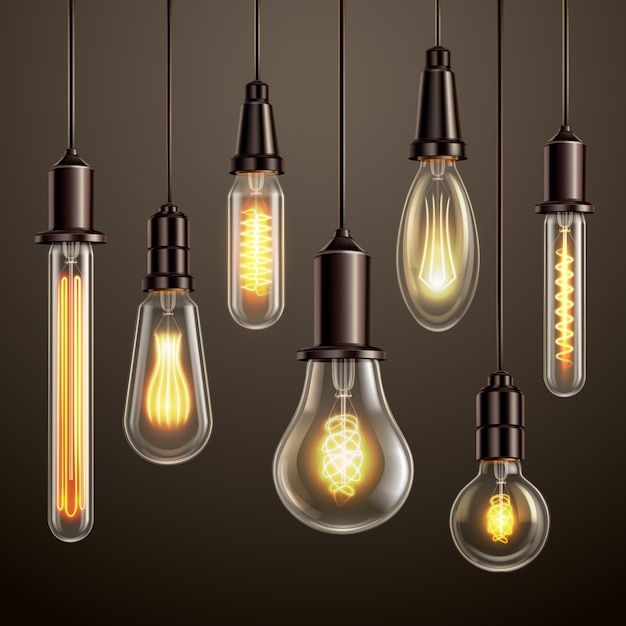 Trendy lighting design with retro style vintage looking soft glowing filament edison ligt bulbs variety Free Vector