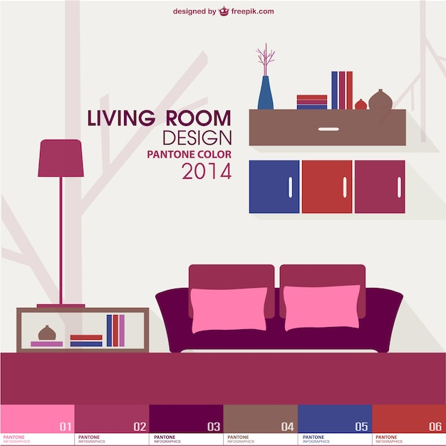 Trendy living room pantone design vector free download for Room design vector