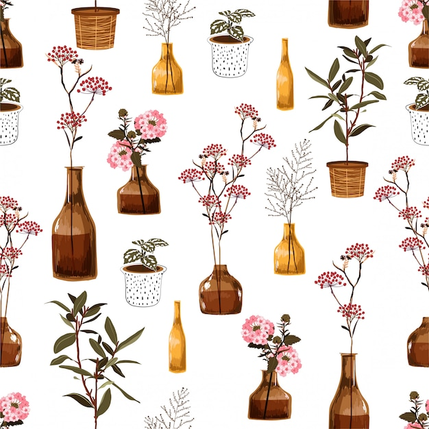 Trendy modern seamless pattern with creative decorative flowers in vase, botanical in pot, in vector deign for fashion, fabric, wallpaper, wrapping and all prints Premium Vector