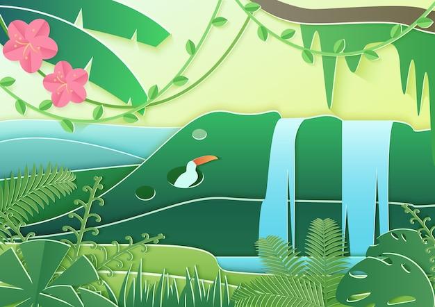 유행 종이 Cuted 스타일의 숲 세계. 열대 우림의 개념 조류와 폭포 정글. 프리미엄 벡터