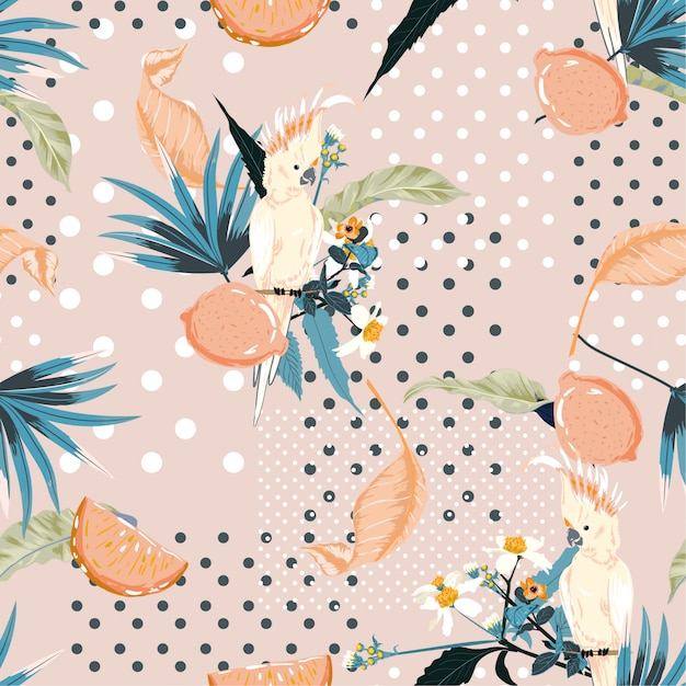 Trendy pastel summer exotic tropical and lemon fruits with macaw bird on polka dots seamless pattern Premium Vector