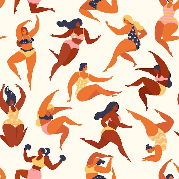 Trendy pattern with girls in summer swimsuits Premium Vector