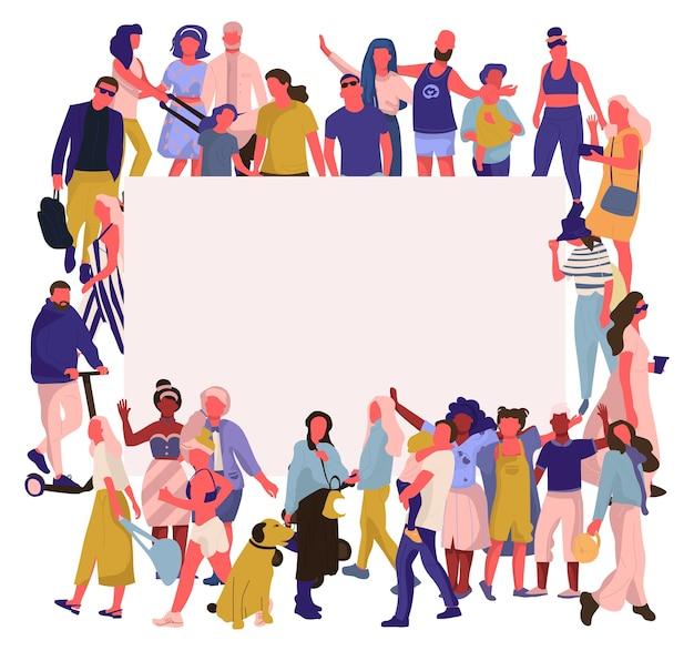 Trendy people banner illustration Premium Vector