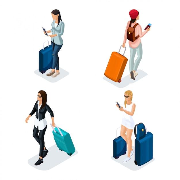 トレンディな人々等尺性ベクトルティーンエイジャー、革のジャケット、革のズボン、スタイリッシュな服、クールな女の子、旅行者、休暇、空港、荷物、電話インターネットソーシャルネットワークの少女 Premiumベクター