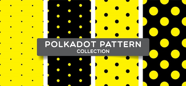 Trendy polka dots seamless pattern collection. Premium Vector