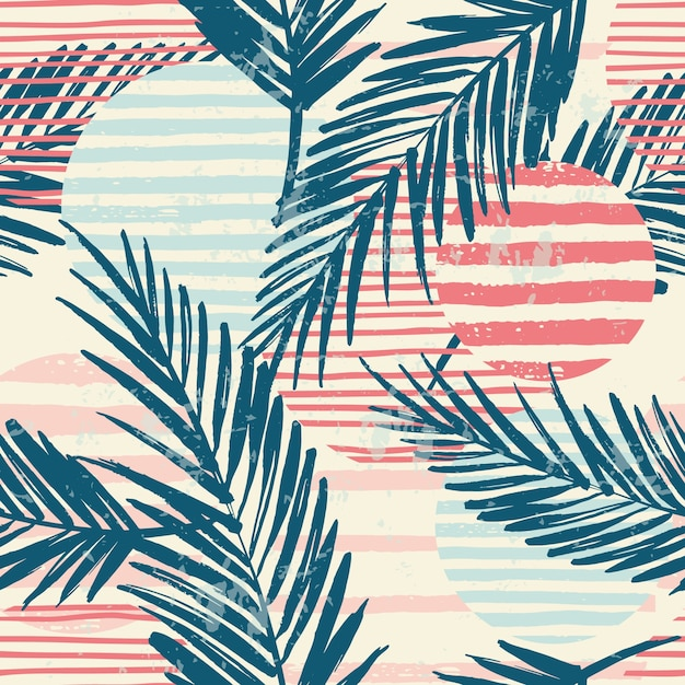 Trendy seamless exotic pattern with palm and geometric elements. Premium Vector