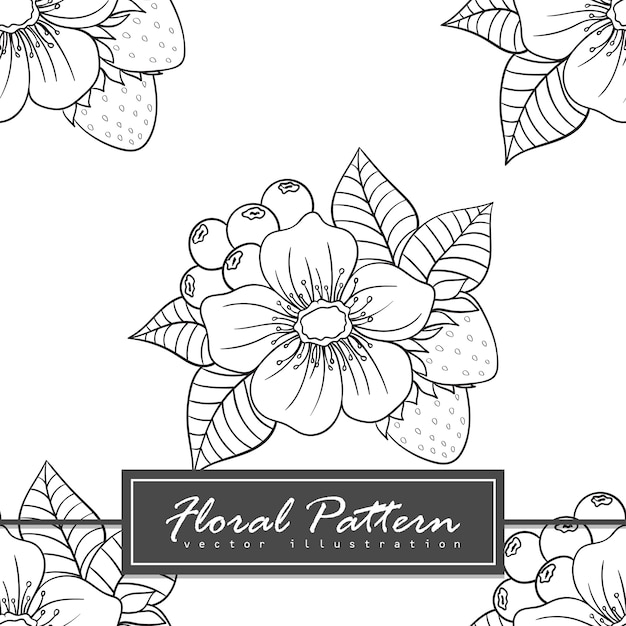 Trendy seamless floral pattern doodle style illustration Free Vector