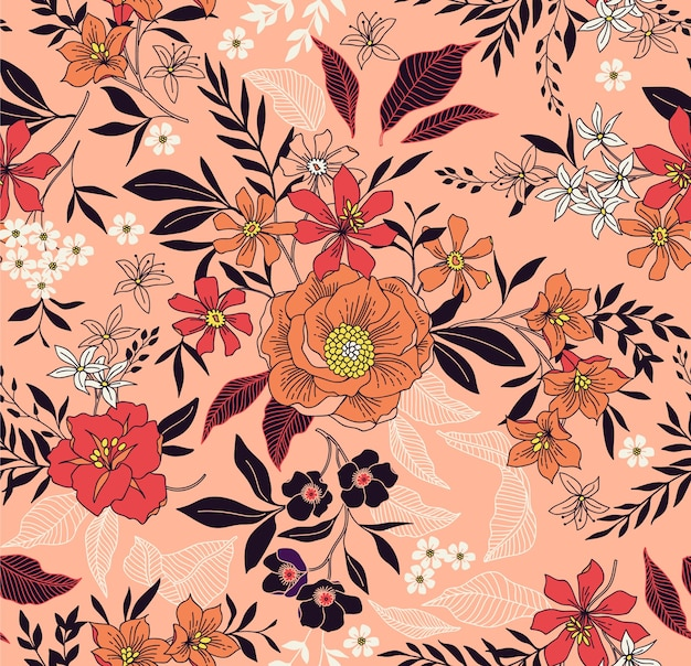 Trendy seamless  floral pattern. seamless print. summer and spring motifs. coral background. Premium Vector
