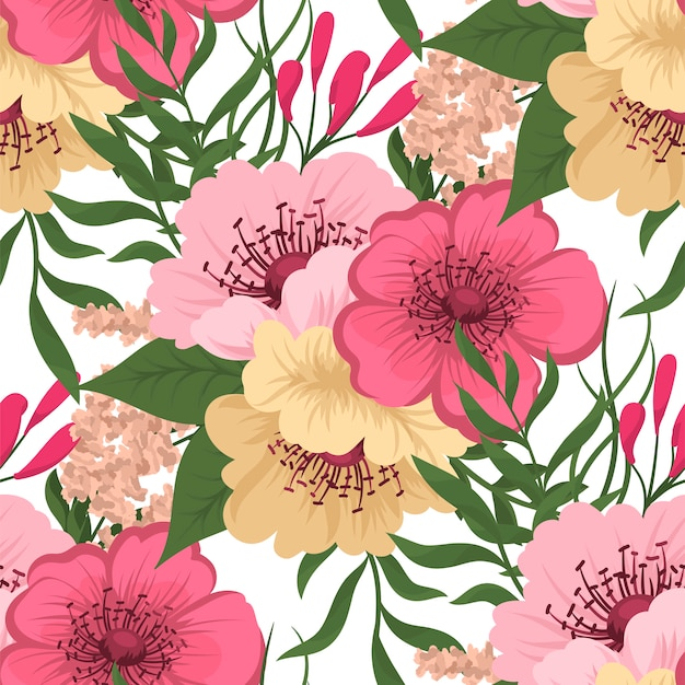 Trendy Seamless Floral Pattern In Vector Illustration Vector Free