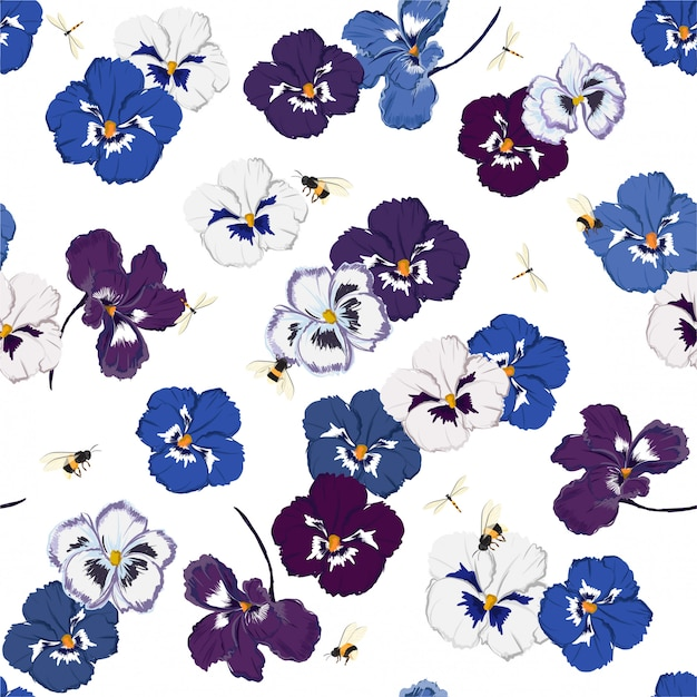 Trendy seamless pattern in vector pansy flower  with dragonfly and bumble bess, design for fashion, fabric, web, wallpaper, and all prints Premium Vector