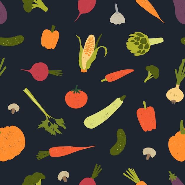 おいしい野菜や収穫した作物が点在するトレンディなシームレスパターン。 Premiumベクター