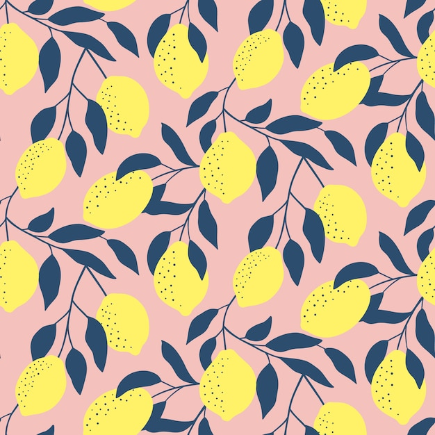 Trendy seamless pattern with fresh lemons. Premium Vector