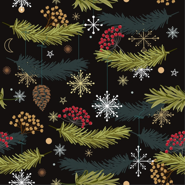 Trendy  seamless vector pattern with leaves flowers  for christmas designs, Premium Vector