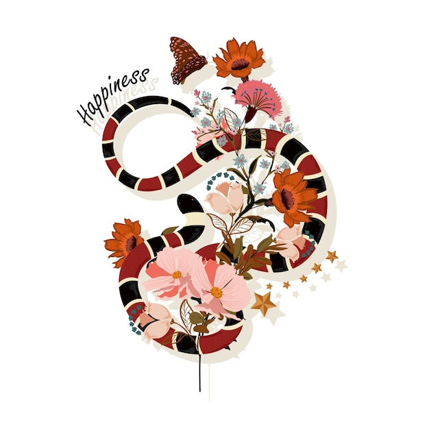 Trendy snake with flowers graphic vector Premium Vector