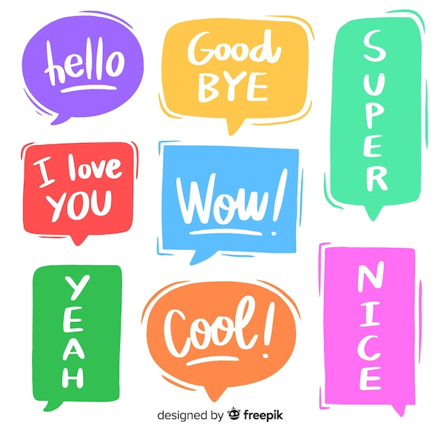 Trendy speech bubble colourful set with messages Free Vector