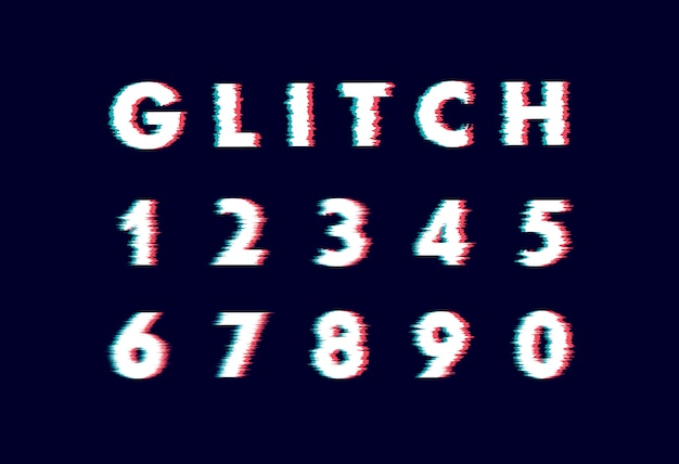 Trendy style distorted glitch typeface. letters and numbers  illustration alphabet Premium Vector
