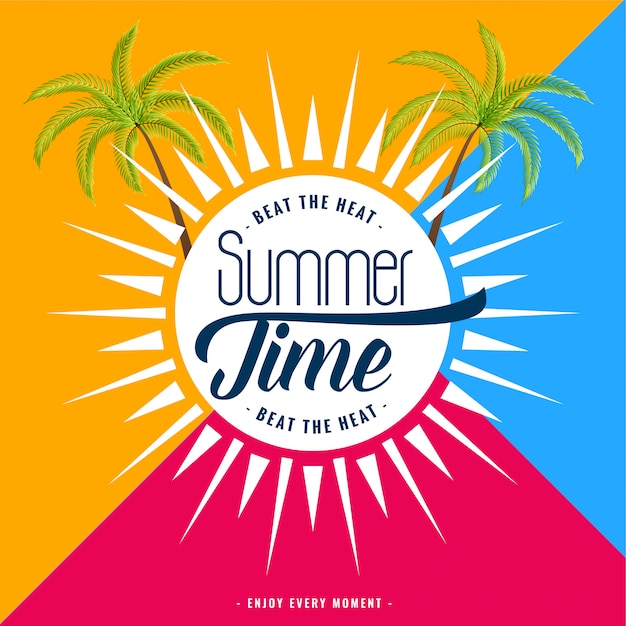 Trendy summer time banner Free Vector