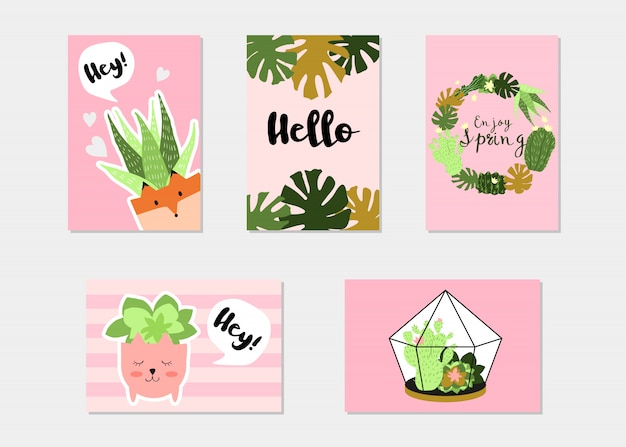 Trendy summer tropical or floral banner set Free Vector