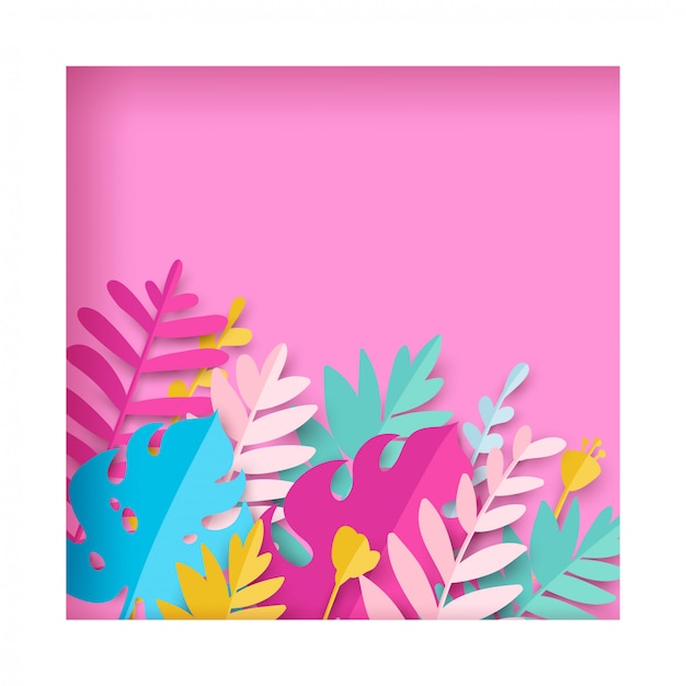 Trendy summer tropical leaves in paper cut style. Premium Vector