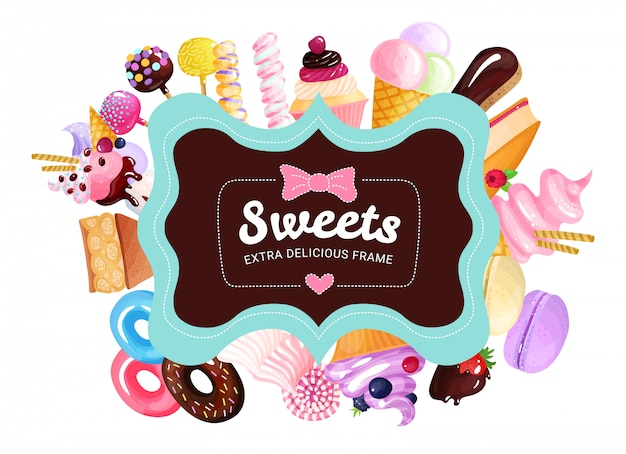 Trendy sweets frame Free Vector