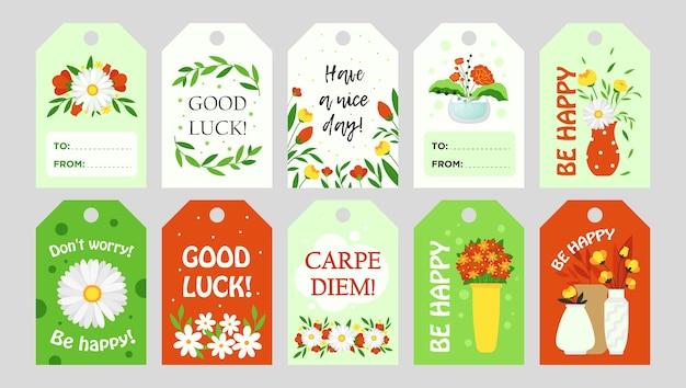 꽃으로 유행 태그 디자인. 인사말 텍스트와 꽃 요소와 밝은 그래픽 요소. 꽃집 및 꽃집 가족 상점 개념. 인사말 레이블 또는 초대 카드 템플릿 무료 벡터