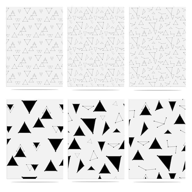 トレンディな三角形幾何学的要素メンフィスパターン Premiumベクター