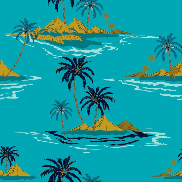 Trendy tropical island hand drawing style summer seamless pattern vector Premium Vector
