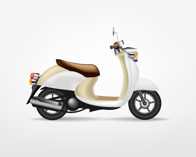 Trendy vintage electric scooter,  on white background.   electric motorbike, template for branding and advertising. Premium Vector