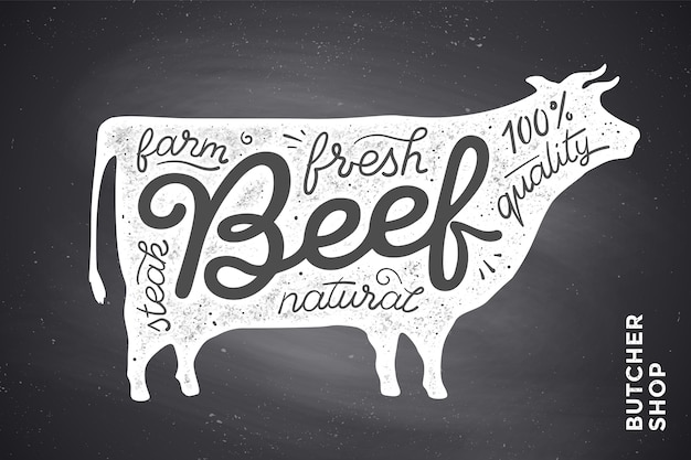Trendy  with red cow silhouette and words beef, fresh, steak, natural, farm. creative graphic  for butcher shop, farmer market. poster for meat related theme. Premium Vector