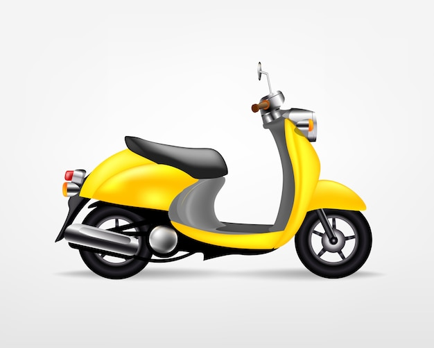 Trendy yellow electric scooter,  on white background.   electric motorbike, template for branding and advertising. Premium Vector
