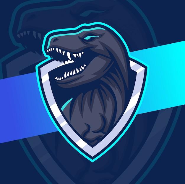 Trex mascot esport logo design Premium Vector