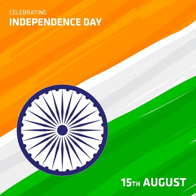 Tri color indian flag background with independence day lettering Free Vector