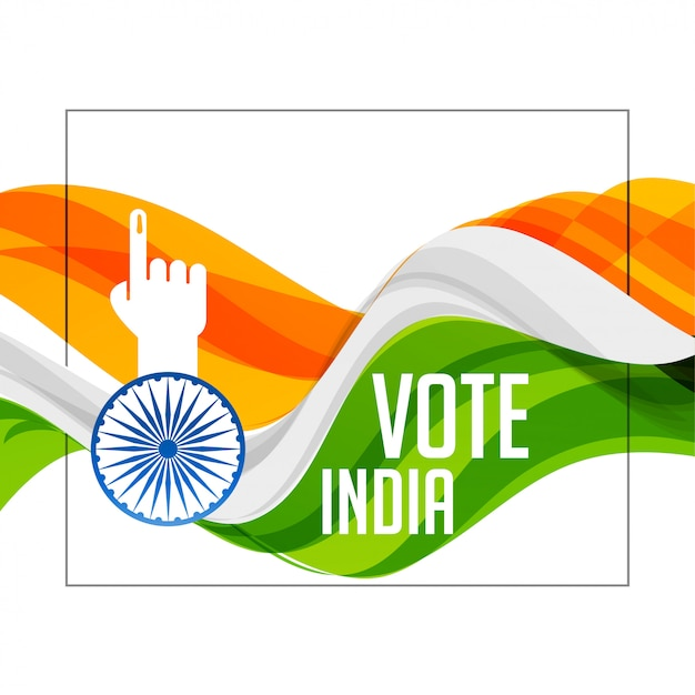 Tri color indian flag with voting hand Free Vector